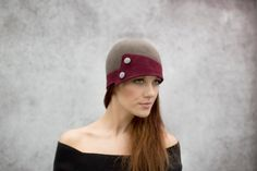 Two Tone Cloche Hat, City Hat in Wool Felt with Button Details - Ada