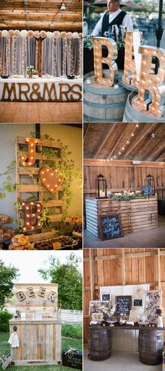 country rustic wedding bar ideas with served food and drinks