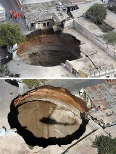 Guatemala City  Residents of a Guatemala City heard strange rumblings for weeks but weren't sure what was happening beneath them. Then, in late February 2007, a near-perfect circle of earth dropped some 30 stories almost instantly. It's amazing how neat the hole is. Two people died and over 1,000 had to be evacuated; the sinkhole resulted from a corroded sewage system deep beneath the surface.  Sinkholes are caused by changing geologica