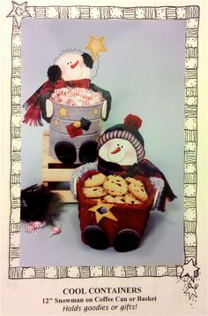 SNOWMAN COOL CONTAINER Sewing Pattern - Christmas Snowmen Coffe Can & Basket Containers for Gifts