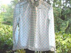 Beautiful 1960's vintage chiffon polka dot blouse  #60 style 1960's #vintage clothing #women's shirt #women's blouse #Women #vintage_clothing #vintage shirt #vintage blouse #vintage 1960's top #vintage #Tops #polka dot shirt #polka dot blouse #For Sale #For her #blue and white #blouse with bow #beautiful #60's clothing # 60's style 1960's
