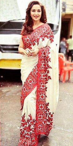 Madhuri Dixit In A Beautiful Embroidered Saree By Manish Malhotra Bridal Sari, Bridal Dresses, Manish Malhotra, Madhuri Dixit, Designer Sarees, Beautiful Saree, Indian Designer Wear, Bollywood Fashion, Indian Beauty