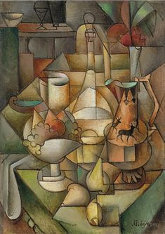 Nature morte, 1911 by Jean Metzinger. still life Georges Braque, Georges Seurat, Cubist Artists, Cubism Art, Cubist Paintings, Picasso And Braque, Rene Magritte, Still Life Art, Lovers Art
