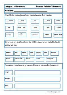 25 Ideas De Ejercicio Español 3 Actividades Para Clase De Español Tercero De Primaria Ejercicios De Español