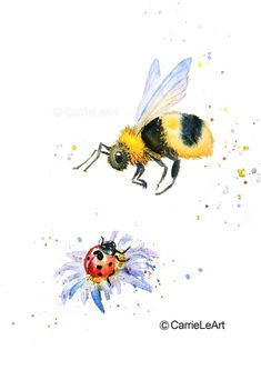 Bumble Bee print Bee Print Bee and ladybug Insect print Animal Drawings, Art Drawings, Bee Painting, Watercolour Painting, Painting Prints, Paintings, Bumble Bee Tattoo, Natur Tattoos, Lady Bug Tattoo