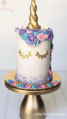 Unicorn Cake Design, Easy Unicorn Cake, Unicorn Rainbow Cake, How To Make A Unicorn Cake, No Bake Cake, Cupcake Cakes, Birthday Cake Girls, Diy Unicorn Birthday Cake, Birthday Cakes