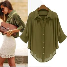 Chiffon Fashion New Women Lady Office Business Casual Dress Shirts Outfit Essentials, Look Fashion, Fashion Outfits, Ladies Fashion, Fashion News, Business Casual Dresses, Business Attire, Chiffon Shirt, Sheer Shirt