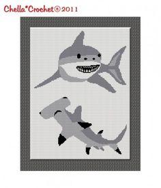 Chella Crochet Shark Hammerhead Great White Afghan Crochet Pattern