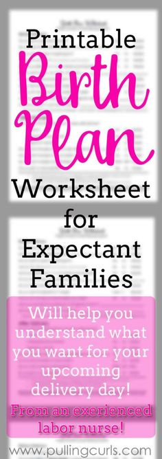 Birth Plan Worksheet Flexible Birth Plan For Success  Labor