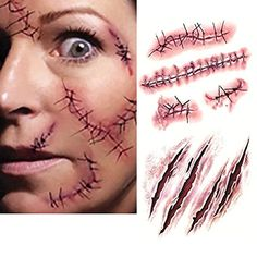 10PC Halloween Zombie Tatouage Temporaire Blessure Cicatrice Plaie Costume Maquillage Faux Sang