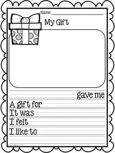 Personal Narrative ~ students will write about a time they received a gift. This would be a great project to use after Christmas or Hanukkah! Kindergarten & 1st Grade