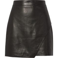 Wrap Leather Mini Skirt ($598) ❤ liked on Polyvore featuring skirts, mini skirts, bottoms, saias, black, short leather skirt, mini skirt, michelle mason, wrap skirts and asymmetrical hem skirt