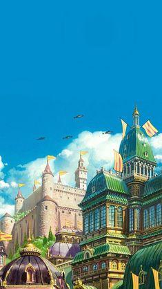 Wallpaper Animes, Anime Scenery Wallpaper, Animes Wallpapers, Phone Wallpapers, Studio Ghibli Art, Studio Ghibli Movies, Hayao Miyazaki, Howls Moving Castle Wallpaper, Film Animation Japonais