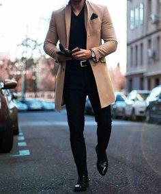 Fashion Lapel Collar Plain Button Packets Long Coat Fashion Lapel Collar Plain Button Packets Long C Stylish Mens Fashion, Best Mens Fashion, Stylish Menswear, Cheap Fashion, Outfit Hombre Casual, Dress Casual, Herren Outfit, Men Style Tips, Style Men