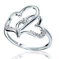 Sterling Silver Hearts Intertwined Ring