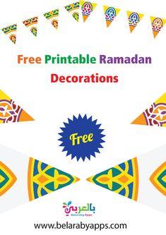 Free Printable Ramadan Decorations .. Ramadan Decoration PDF ⋆ belarabyapps Ramadan Crafts, Ramadan Decorations, Star Decorations, Ramadan Wishes, Pillars Of Islam, Feeling Alone, Flag Decor, Bedtime Stories, Stories For Kids
