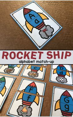 Rocket Ship Alphabet Match-Up Puzzles for preschool, pre-k, and kindergarten. Part of a Language and Literacy Center Activities pack. Space Activities For Kids, Space Preschool, Pre K Activities, Preschool Rocket, Preschool Literacy, In Kindergarten, Early Literacy, Sistema Solar, Space Classroom