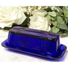 blue glass butter dish