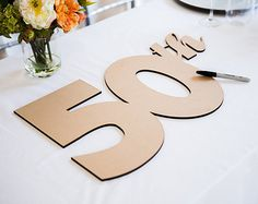 50th Anniversary Guestbook Sign or Photo Prop Decor, DIY or Painted Guestbook for Anniversary Party or Event - Party Decor (Item - GBA050)