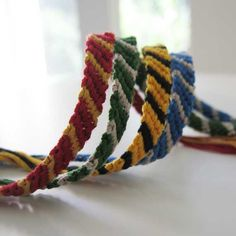 Harry Potter, Hogwarts House Colors, Woven Bracelet Set Friendship Bracelets