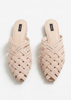 Topuğu açık deri ayakkabı   MANGO