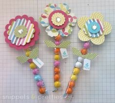 Snippets and Pretties: Alien & Flower treats Easter Crafts, Crafts For Kids, Arts And Crafts, Flower Cards, Paper Flowers, Homemade Gifts, Diy Gifts, Candy Crafts, Treat Holder