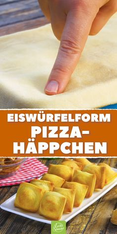 Pizza appetizers from the ice cube shape - - Pizza-Häppchen aus der Eiswürfelform Delicious, simple pizza finger food! Pizza Appetizers, Pizza Snacks, Snacks Für Party, Pizza Pizza, Pizza Dough, Pizza Bake, Simple Appetizers, Good Food, Yummy Food