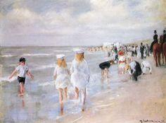 Am Strande.  Beach in Scheveningen Max Liebermann