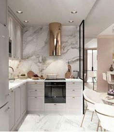 10 Cozinhas em Cinza, Branco e Dourado para te Inspirar – Letícia Granero Interiores Luxury Kitchen Design, Kitchen Room Design, Luxury Kitchens, Home Decor Kitchen, Interior Design Kitchen, Home Kitchens, Kitchen Ideas, Kitchen Paint, Grey Interior Design