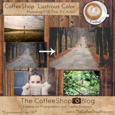 Freebies and Tutorials for Photographers and Digital Designers for Photoshop, Photoshop Elements, and Lightroom. Photoshop Elements Actions, Color Photoshop, Free Photoshop, Photoshop Tutorial, Photoshop For Photographers, Photoshop Photography, My Scrapbook, Lightroom Presets, Coffee Shop