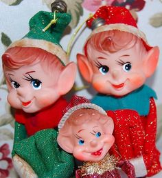 Vintage 1960's Christmas Pixie Knee Huggers.  My grandmother used this as package toppers when I was young...the ones that were left she used for tree ornaments in the years to come.  When she passed away they became mine.  I love seeing them on my tree each year and think of her each time I hang them.