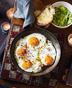 One-pan chilli eggs with guacamole