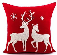 Cotton Canvas Wool Embroidered Christmas Series Santa Snowflake Vintage Decorative Throw Pillow Pillowcase Cushions Home Decor Cushion Cover Designs, Christmas Cushions, Christmas Pillow, Christmas Cushion Covers, Throw Cushions, Throw Pillow Cases, Sofa Throw, Cushion Pillow, Christmas Decoration Crafts
