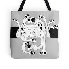 PANIC by giadagabiati great idea fo a gift! #totebag #bag #fashion #black&white #accessories #art #redbubble