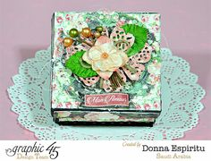 How to Alter a Box for Sweet Treats using Mon Amour by Donna Espiritu Graphic 45, Altered Boxes, Altered Art, Scrapbook Box, Scrapbooking Ideas, Happy Hearts Day, Black Acrylic Paint, Saint Valentine, Valentine Day Cards