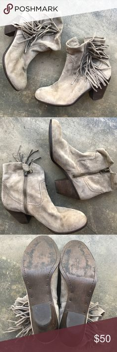 """FINAL SALE Sam Edelman Fringe Louie Boots 10.5 Worn once! Size 10.5 zip up Suede Sam Edelman boots with 3"""" heel. Total height is 8.5"""" Great condition with very minimal wear. Does not include box Sam Edelman Shoes Ankle Boots & Booties"""