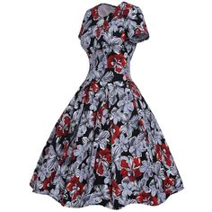 Robes Vintage Style Des Annees 1950 Rouge Monochrome Floral Manches... (£18) ❤ liked on Polyvore featuring floral print robe, floral robe, floral dressing gown, bath robes and vintage robe