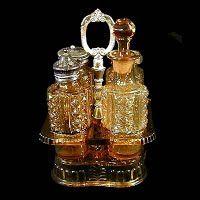 Antique EAPG Amber Paragon Castor Set, 1890-1892 Adams and Co