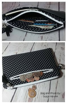 Bag Patterns To Sew, Pdf Sewing Patterns, Sewing Tutorials, Sewing Projects, My Bags, Purses And Bags, Wallet Sewing Pattern, Sew Wallet, Techniques Couture