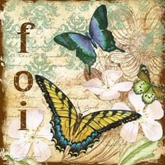 Jean Plout Print featuring the painting Inspirational Butterflies-jp3077 by Jean Plout