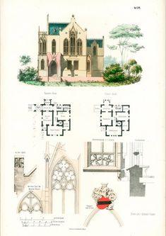 1854 Château de style allemand plans d'architecte Format A3 gravure ancienne Esquisse Dessin Plan Détails architecturaux avec Passe-partout