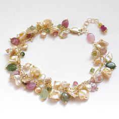 Colorful cluster bracelet with Watermelon Tourmaline and keshi pearls, fresh water pearls, 14K Gold filled. B045.