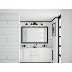 Black Bathroom Mirrors, Bathroom Sconces, Bathroom Vanity Lighting, White Bathroom, Master Bathroom, Bathrooms, Black Bathroom Decor, Master Bath Vanity, Bathroom Interior