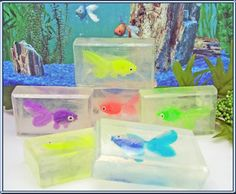 Toy Box Fish Glycerin Soap for Kids - Lot 6 Goldfish Bars for Play Gifts Favors. $12.00, via Etsy.