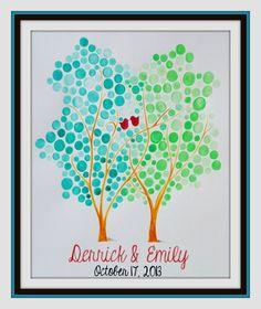 Wedding Guest Book Alternative  Watercolor Tree by CForiginal, $85.00
