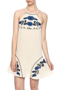 Flowy Tank Dress With Floral Embroidery Details. Fully Lined. Button Back  Closure. Bahama