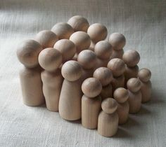 20 Wooden Peg People  4 Sets Family of 5 by SpottedMushSupplies, $13.50