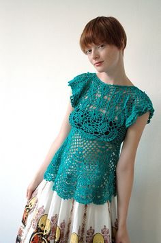 love the color - crochet top