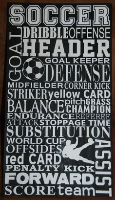 Soccer Subway Art 115 X 20 by chree77 on Etsy, $25.00