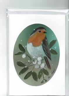 Grüße - Grußkarte - Rotkehlchen / Mistel, handgemalt - ein Designerstück von Vogelmalerin bei DaWanda